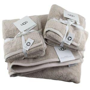 UGG Bath Hand Towel 6 Piece Bathroom Set Light Brown Organic Cotton