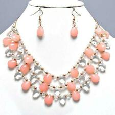 Peach Clear Necklace Set Gold Memory Wire Women Fashion Jewelry