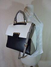 NWT FURLA Black/Gray/White Pebbled Leather Artesia Shoulder Bag $578