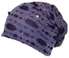 Womens Torn Design W/Sequins Lightweight Knit Beanie, Winter, Cap #672 Purple