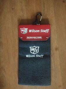 WILSON STAFF TRI FOLD GOLF TOWEL BLACK, MICROFIBRE ULTRA ABSORBENT