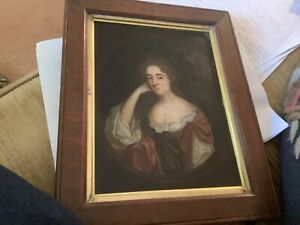 antique oil painting of woman