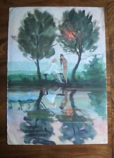 Swimmers at sunset Vaucluse Provence Cypress trees reflected water impressionist