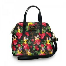 $ New LOUNGEFLY Disney BEAUTY AND THE BEAST BELLE RED ROSE Purse Tote Handbag