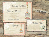 PERSONALISED RUSTIC LACE CORAL PINK BIRDCAGE WEDDING INVITATIONS PACKS OF 10
