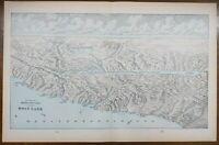 """Vintage 1900 HOLY LAND Map Engraving 22""""x14"""" ~ Old Antique Original JERUSALEM"""