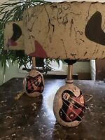 MCM-style Pair Of Ceramic Lamps With Matching, Custom Painted MCM Shades