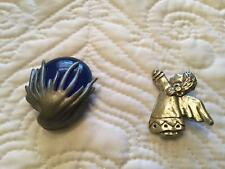 Brooches Angel And Blue Stone - Unique Lot Of 2 Pewter Fashion Pins Or