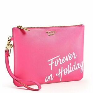 Victorias Secret FOREVER ON HOLIDAY Cosmetic Makeup Bag Clutch Wristlet Hot Pink
