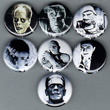 MONSTERS 7 pins/buttons/badges goth punk movie classic horror set A