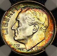 Rainbow Toned 1950 S Roosevelt Dime 10c NGC MS65 Two Sided PQ Color Better Date