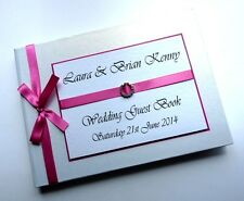 PERSONALISED WEDDING GUEST BOOK (PINK) WITH DIAMONTE BUCKLE  - ANY COLOUR