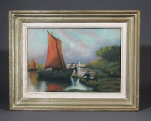 Vintage French Oil Painting,Fishermen, Oyster Harvest, Sailboats Atlantic Coast