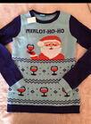 New Ugly Christmas Sweater women's Merlot Ho Ho  Santa Small
