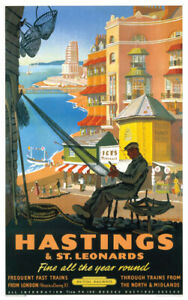 Vintage Hastings Fisherman Art Print Railway Travel Poster A1/A2/A3/A4!