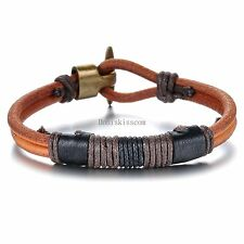 Men's Women's Clasp Double Band Vintage Leather Wristband Bracelet Cuff Brown