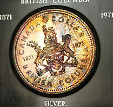 1971 Canada Silver $1 Beautifully Original Toned Pink and Gold Reverse (B)