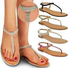 New Womens Flats Toe Post Diamante Sandals Ladies Ankle Strap T-Bar Shoes Size