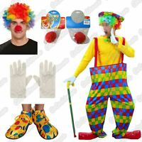 Adult Hooped Clown Circus Carnival Costume Mens Ladies Fancy Dress Party Outfit