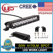 1X 11inch 50W Single Row CREE Led Offroad Light Bar Spot Jeep Boat Truck 3D Lens
