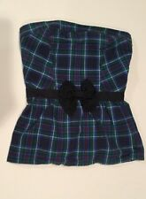 Abercrombie Fitch Women Strapless Plaid Top Blue Green Red White Size XS