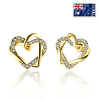Stunning 18K Yellow Gold Plated Crystal Infinity Love Heart Stud Earrings Gift