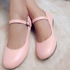Womens Girls Flats Oxford Sweet Mary Janes Loafer Buckle Shoes Leather Plus Size