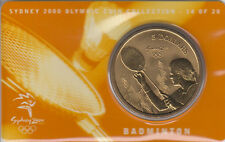 Coin Australia 2000 Olympic Games Sydney $5 proof issue Badminton on card