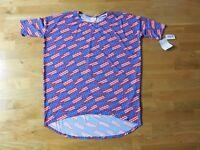Lularoe Irma T Shirt Womens Large American Flag Blue Tunic Flowy Comfy Spring
