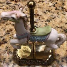 Willitts Designs Legends Of The Rose Porcelain Carousel Horse Brass Base
