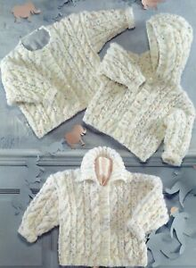 Baby DK Knitting Pattern Hoodie  Cardigan and Sweater Sizes 16-26 inches #236