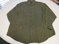Mens Marc Edwards XXL long sleeve button up shirt casual black khaki EUC@