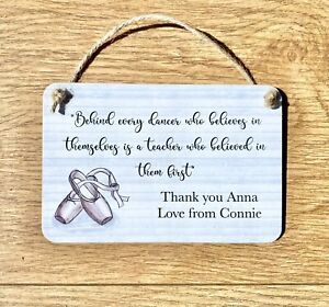 Personalised Thank You Dance Teacher Gift Wooden Ballet Plaque Shabby Chic