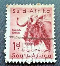 South Africa stamps - Black Wildebeest (Connochaetes Gnou)   1d S A penny 1954