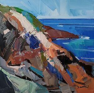 JOSE TRUJILLO Oil Painting IMPRESSIONISM CONTEMPORARY SEA OCEAN ROCKS CLIFF NR