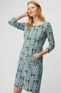 White Stuff Holland Jersey Dress Algae Green Print Size 14 Pockets 3/4 Sleeves