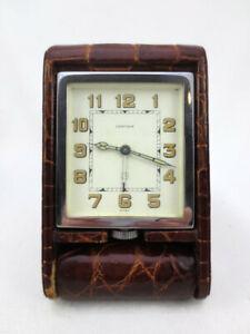 Vintage Cartier Jaeger LeCoultre Folding Travel Alarm Clock 8 Day Alligator Case