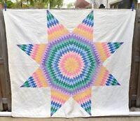 Vtg Lone Star Quilt 1930s Full Orange Purple Green Blue Pink 72 x 80 Double Bed
