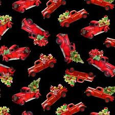 Timeless Treasures Fabrics Home For Christmas Christmas Stuff In Red Trucks