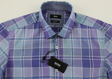 Men's HUGO BOSS Tonal Blue Purple Pastel Plaid LOK Shirt XL XLarge NWT NEW $145+