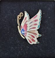 A  BEAUTIFUL 1980s GOLD TONE CLOISONNE ENAMEL BUTTERFLY BROOCH