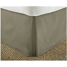 King Bed Skirt Taupe Brown Pleated Corners 14in Drop Home Collection Dust Ruffle
