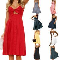 3f1dd18dbbfc Womens Summer Sexy V-Neck Tie Knot Midi Swing Dress Backless A-Line Sundress