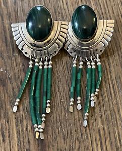 Malachite sterling silver dangle tassel earrings