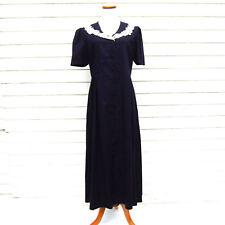 Vintage LAURA ASHLEY Navy Blue Dress Linen Handmade Lace Collar US 12 UK 16