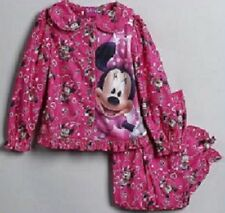 MINNIE Mouse Fleece Pajamas Girl's 4T NeW Button Down Shirt Pants Pjs NWT Disney
