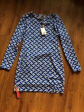 NWT $348 DIANE VON FURSTENBERG DVF Reina  Zig Zag Cornflower Dress - Sz 6