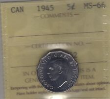 1945 Canada Five Cents Coin. ICCS MS-66 UNC