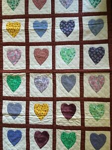 """Cotton Hand & Machine Sewn Heart Patchwork Table Topper Wall Hanging 30"""" x 45"""""""