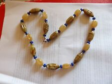 VINTAGE  FACETED FRENCH JET BEAD NECKLACE WITH DIAMANTE SPACERS
